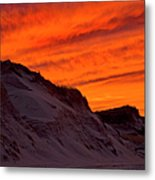 Fiery Sunset Over The Dunes Metal Print