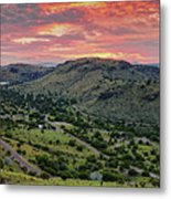Fiery Sunset Panorama Over Davis Mountains State Park - Keesey Canyon Blue Mountain Limpia Canyon - Metal Print