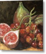 Figs And Grapes Metal Print