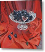 Figs And Grapes On Red  Metal Print