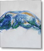Figure In Blues And Greens Metal Print