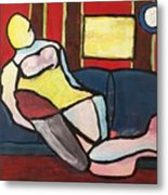 Figure On Couch Metal Print