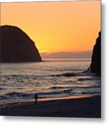 Figure On Seastack Metal Print