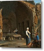 Figures At The Cave Of Egeria Metal Print