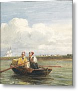 Figures In A Boat On The Thames, Gravesend Metal Print