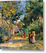 Figures In A Garden Metal Print