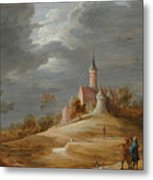 Figures In A Landscape With A Castle Beyond Metal Print