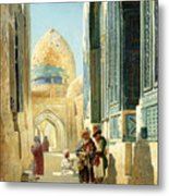 Figures In A Street Before A Mosque Metal Print