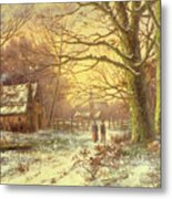 Figures On A Path Before A Village In Winter Metal Print by Johannes Hermann Barend Koekkoek