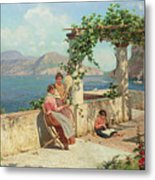 Figures On A Terrace In Capri  Metal Print
