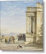 Figures On A Terrace With Greyhounds Metal Print