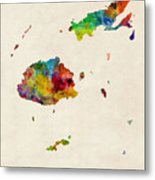 Fiji Watercolor Map Metal Print