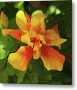 Fijian Hibiscus Abstract In Del Mar 1 Metal Print