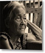 Filipino Lola Image Number 33 In Black And White Sepia Metal Print