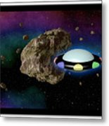 Film Frame With Asteroid And Ufo Metal Print