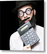Financial And Accounting Genius With Calculator Metal Print