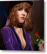 Fine Art Digital Portrait Stevie Nicks Crescent Moon Top Hat Metal Print