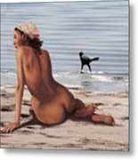 Fine Art Female Nude Multimedia Oil Painting Stacy Sitting Gulf Coast Florida Metal Print