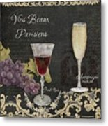Fine French Wines - Vins Beaux Parisiens Metal Print