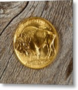 Fine Gold Buffalo Coin On Rustic Wooden Background Metal Print