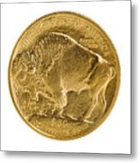 Fine Gold Buffalo Gold Coin On White Background  Metal Print