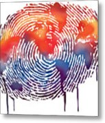 Finger Print Map Of The World Metal Print