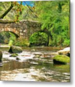 Fingle Bridge - P4a16013 Metal Print