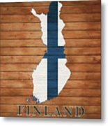 Finland Rustic Map On Wood Metal Print