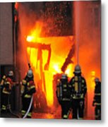 Fire - Burning House - Firefighters Metal Print
