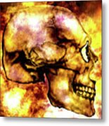 Fire And Skull Metal Print