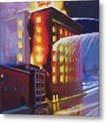 Fire At The Butternut Building Metal Print by Bobbi Baltzer-Jacobo