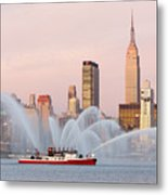 Fire Boat And Manhattan Skyline I Metal Print