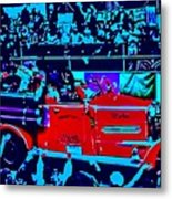 Fire Engine Red In Blue Metal Print