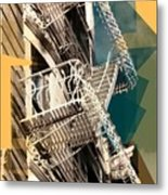 Fire Escapes In White And Gold Metal Print