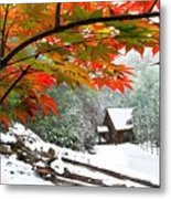 Fire Fog And Snowy Fence Metal Print