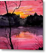 Fire In The Sky    Lake Arrowhead Maine Metal Print