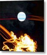Fire Moon Abstract Moonlit Night Metal Print