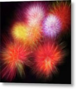 Fire Mums Floral - Fireworks Collage Metal Print