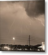 Fire Rescue Station 67  Lightning Thunderstorm Sepia Black And W Metal Print