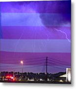 Fire Rescue Station 67  Lightning Thunderstorm With Usa Flag Metal Print