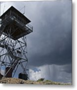 Fire Tower On Bald Mountain Surrounded Metal Print