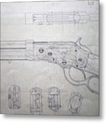 Firearms Lever Action Rifle Drawing Metal Print