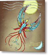 Firebird With Sun And Moon Metal Print
