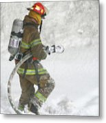 Firefighter In The Snow Metal Print