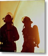 Firefighters In Silhouette Metal Print