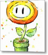 Fireflower Watercolor Metal Print