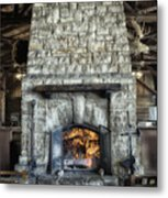 Fireplace At The Lodge Vertical Metal Print