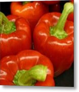 Firery Red Peppers Metal Print