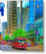 Firetruck In Chicago Metal Print