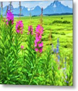 Fireweed In The Foreground 2 Metal Print